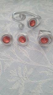 Anello in alluminio regolabile con cristallo Rivoli Swarovski