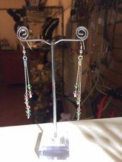 Orecchini in cobra con swarovski, monachella in argento