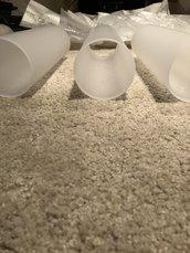 Tubo bianco, ricambio per lampadari, in vetro soffiato di Murano, fatto a mano