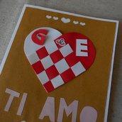 Biglietto innamorato per San Valentino • Cuore di carta intrecciato con le iniziali personalizzate
