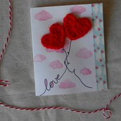 Biglietto innamorato per San Valentino • Due cuori a uncinetto