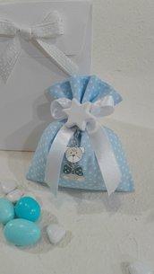 Confezione da 5 sacchetti medi cotone pois azzurro POIS/5 A
