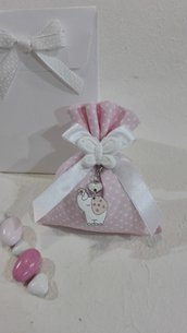 Confezione da 5 sacchetti medi cotone pois rosa POIS/5 R