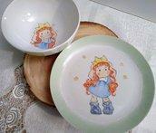 ciotola e piatto da colazione in porcellana di pinta  a mano, con soggetto Tilda