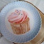vassoio porta caramelle - dolcetti  in porcellana dipinto  a mano, con soggetto cupcake
