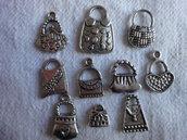 10 Ciondoli Borse diverse in metallo color argento