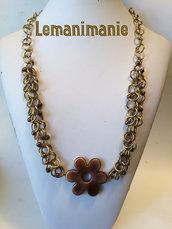 #Collana# chainmail #fiore #bronzo