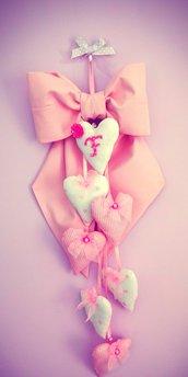 Fiocco nascita cuori rosa