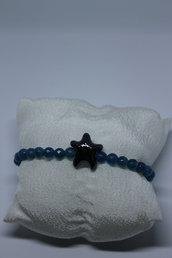 bracciale agata blu e stella nera