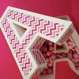 Lettera lettere 3d scatola scatole porta confetti confettata battesimo compleanno tavolata
