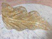 Foglia oro, ricambio per lampadari Venini e non, in vetro soffiato di Murano