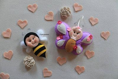 Pupazzo - Felt toy - Giocattolo -  Peluche - Dou dou - Decorazioni culla - Pupazzo feltro - Pupazzo pannolenci - Ape pannolenci