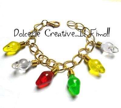 Bracciale Fila di luci colorate - Rosse, verdi, gialle, bianche - handmade idea regalo luci natalizie