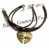 Coppia Bracciali fidanzati - Mezzo cuore - Chiave e lucchetto - chiave del mio cuore - regalo fidanzata