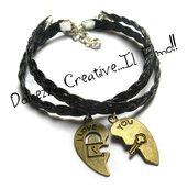 Coppia Bracciali fidanzati - Mezzo cuore - Chiave e lucchetto - chiave del mio cuore - intrecciato nero