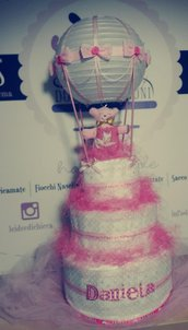 Torta di Pannolini - Diaper cake - idee regalo nascita battesimo 1° compleanno
