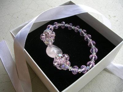 """""""Bracciale con perline Swarovski elastico rosa"""""""