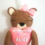 Fiocco nascita orsetta con cuore in pannolenci fatto a mano personalizzato con nome