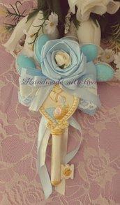 Fiore portaconfetti con chiave di polvere di ceramica tema battesimo bimbo/bimba