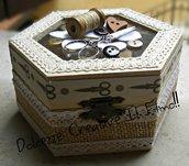 Cofanetto - Scatola porta cucito - contenitore cucito - idea regalo sarta, rocchetto di cotone, bottoni, forbici ecc