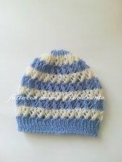 Cappello / berretto / cuffia bambino a righe in pura lana