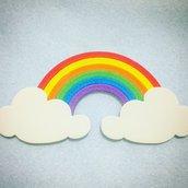 Calamita nuvole e arcobaleno