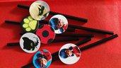 kit di 10 cannucce personalizzate ladybug