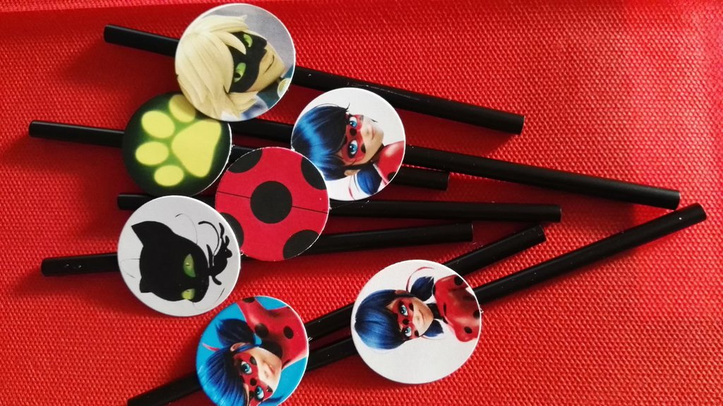 kit di 10 cannucce personalizzate ladybug