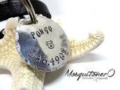 Targhetta per cani con incisione fatta a mano del nome e numero idea regalo medaglietta