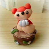 Cake topper volpe torta animali foresta nascita battesimo comunione compleanno cake topper animali