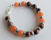 Braccialetto di perle  ambra e marrone  BRA5N