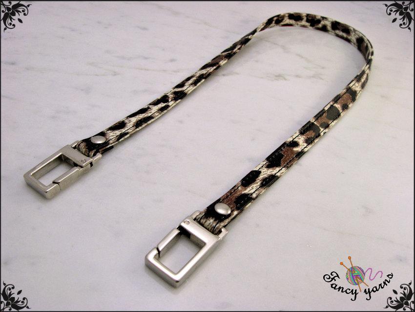Manico per borsa 50 cm, doppia similpelle impunturata, stampa leopardo