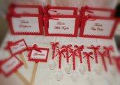 Coordinato matrimonio laurea rosso cuori segnatavolo segnagusto cucchiaio    a partire da 1€