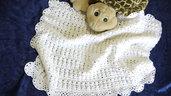 Copertina per carrozzina o culla in morbida lana baby lavorata a mano