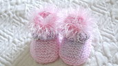 Scarpine da culla bambina neonato eleganti in lana rosa fatte a mano