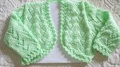 Bolero - scaldacuore -coprispalle in lana baby lavorato a mano bambina 18/24 mesi