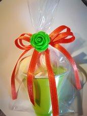 10 Secchielli coppette con marshmallow segnaposto regalini festa confettata caramellata arancione verde giallo fiore