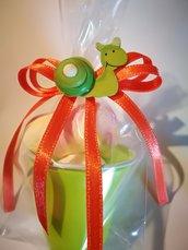 10 Secchielli coppette con marshmallow segnaposto regalini festa confettata caramellata arancione verde giallo lumachina