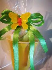 10 Secchielli coppette con marshmallow segnaposto regalini festa confettata caramellata arancione verde giallo farfalla