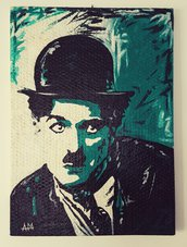 Charlie Chaplin ritratto dipinto a mano