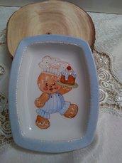 "vassoio in porcellana dipinta  a mano, con soggetto natalizio ""gingerbread"
