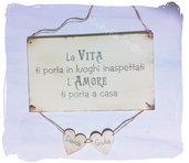 Idea regalo San Valentino: targa in legno personalizzabile con nomi e aforisma