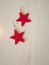 Orecchini a stella rossi, orecchini rossi ad uncinetto, orecchini pendenti,
