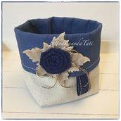 Cestino portatutto in cotone tinta naturale e blu con rosa blu