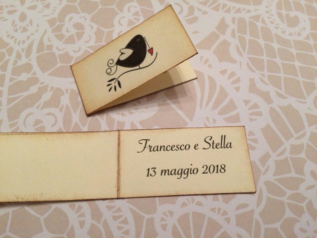 Bigliettini Matrimonio Bomboniere.Bigliettini Bomboniera Matrimonio Rettangolare Con Immagine Di Un