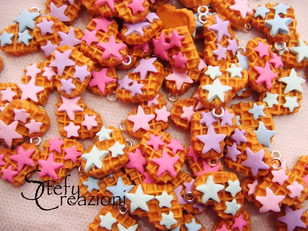 Waffle Charms in Fimo
