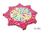 Set 4 pezzi - sottobicchieri fucsia e colori pastello all'uncinetto