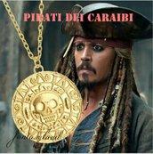 Medaglione azteco pirati dei caraibi ciondolo collana oro jack sparrow