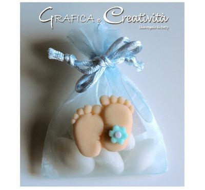 Sacchettino in organza con piedini nascita