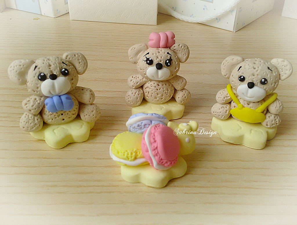 Cake topper orsi e macarons torta orsetto nascita battesimo festa primo compleanno